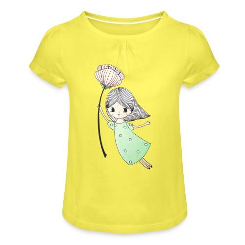 meisje met bloem - Meisjes-T-shirt met plooien