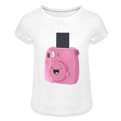 Appareil photo instantané rose - T-shirt à fronces au col Fille