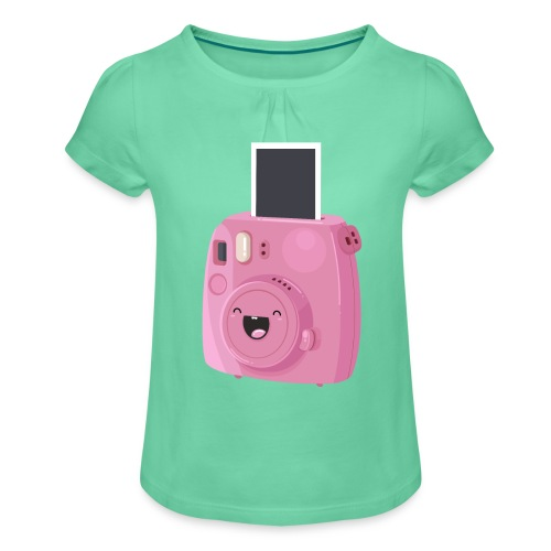 Appareil photo instantané rose - T-shirt à fronces au col Fille