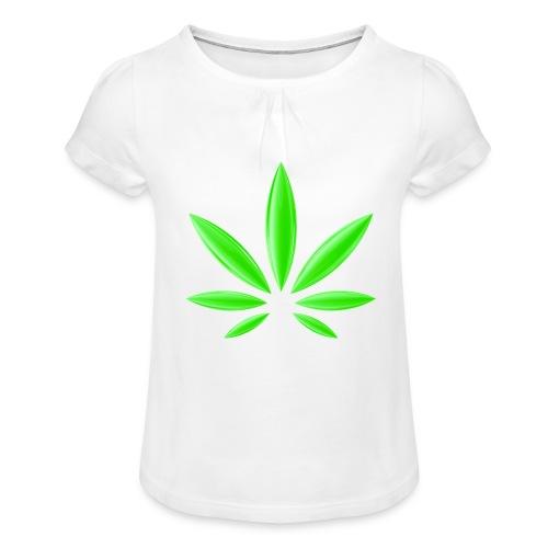 T-Shirt Design für Cannabis - Mädchen-T-Shirt mit Raffungen