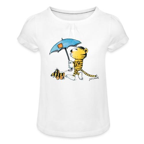 Janosch Kleiner Tiger Tigerente Mit Schirm - Mädchen-T-Shirt mit Raffungen