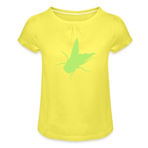 fliege - Mädchen-T-Shirt mit Raffungen