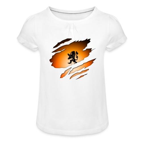 Dutch Inside: Leeuw - Meisjes-T-shirt met plooien