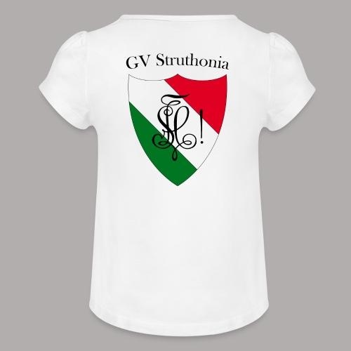 Wappen Struthonia beschriftet - Mädchen-T-Shirt mit Raffungen