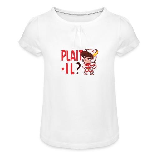 Seyar Plaît il rouge - T-shirt à fronces au col Fille