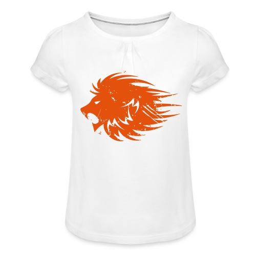 MWB Print Lion Orange - Girl's T-Shirt with Ruffles