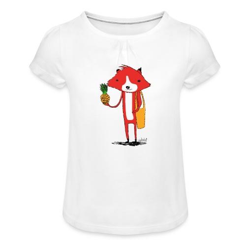 Ananasfüchslein - Mädchen-T-Shirt mit Raffungen