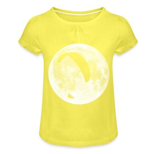 Paragleiter im Mond - Mädchen-T-Shirt mit Raffungen