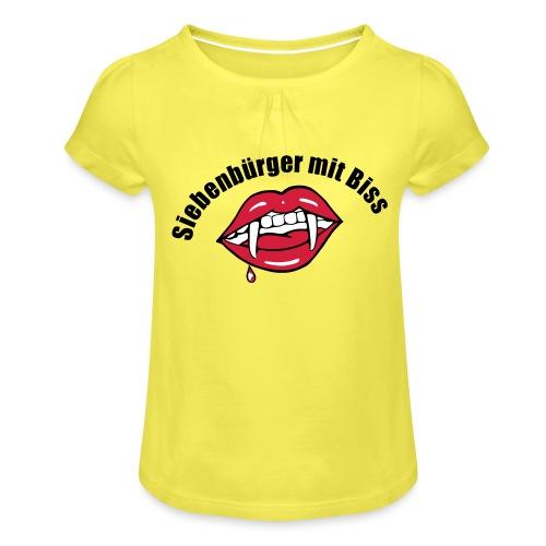 Siebenbuerger mit Biss - Dracula Transylvanien - Mädchen-T-Shirt mit Raffungen