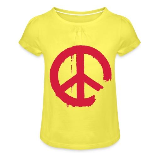 PEACE - Mädchen-T-Shirt mit Raffungen