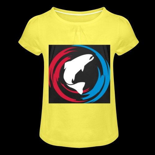 Logo Fisk - T-shirt med rynkning flicka