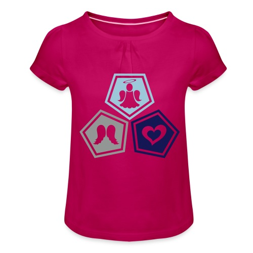 Tee shirt baseball Enfant Trio ange, ailes d'ange - Girl's T-Shirt with Ruffles
