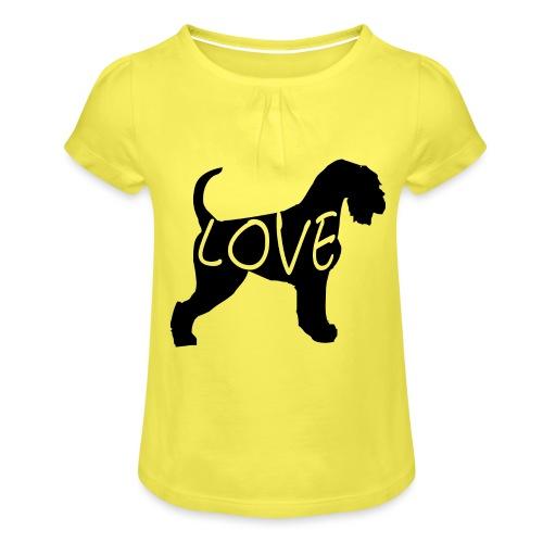 Schnauzerliebe Riesenschnauzer, Hunde Geschenk - Mädchen-T-Shirt mit Raffungen