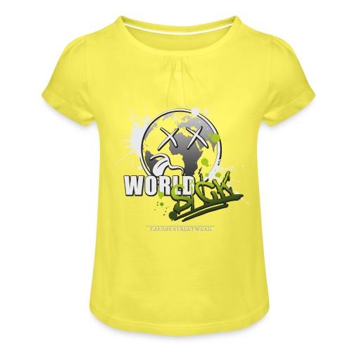 world sick - Mädchen-T-Shirt mit Raffungen