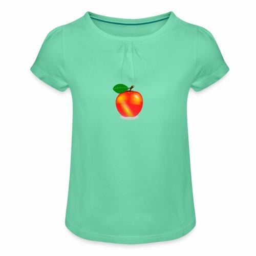 Apfel - Mädchen-T-Shirt mit Raffungen