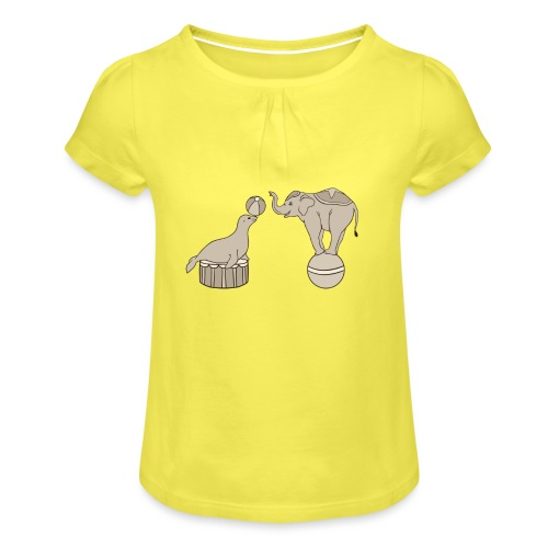 Circus elephant and seal - Girl's T-Shirt with Ruffles