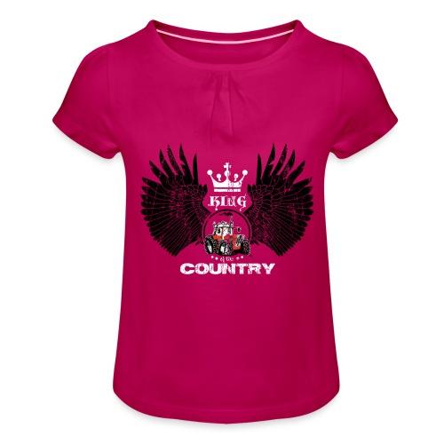 WINGS King of the country zwart wit op rood - Meisjes-T-shirt met plooien
