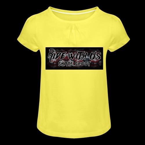 red camo - Meisjes-T-shirt met plooien