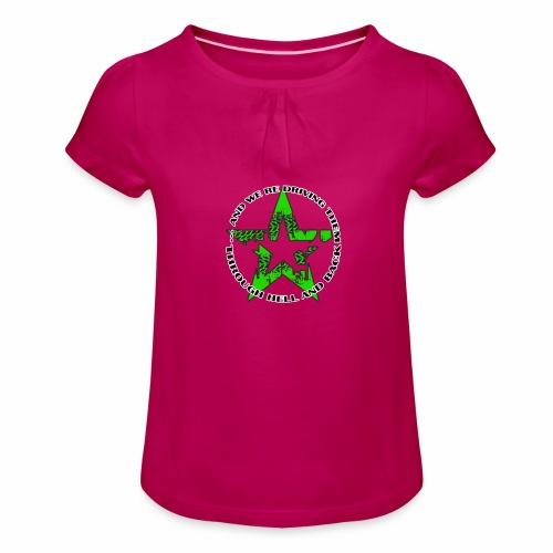 ra star slogan slime png - Mädchen-T-Shirt mit Raffungen