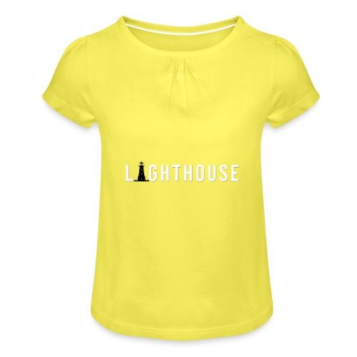 Lighthouse Logo - Mädchen-T-Shirt mit Raffungen