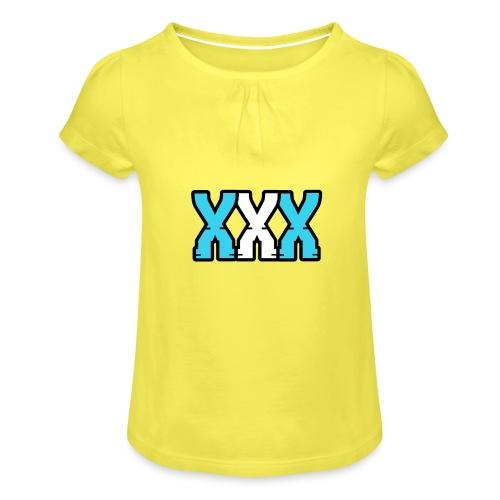 XXX (Blue + White) - Girl's T-Shirt with Ruffles