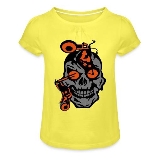 tete mort moto motrocycle oeil skull - T-shirt à fronces au col Fille