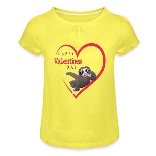 Sloth Valentines Day - Mädchen-T-Shirt mit Raffungen