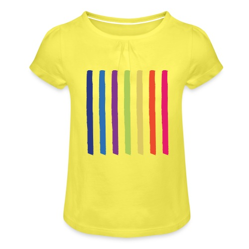 Lines - Girl's T-Shirt with Ruffles