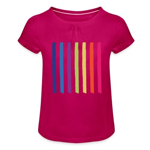 Linjer - Pige T-shirt med flæser