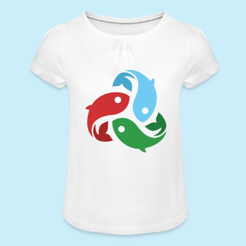 De fiskede fisk - Pige T-shirt med flæser