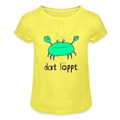 Ostfriesland FUN Shirt - Dat Löppt Strandkrabbe - Mädchen-T-Shirt mit Raffungen