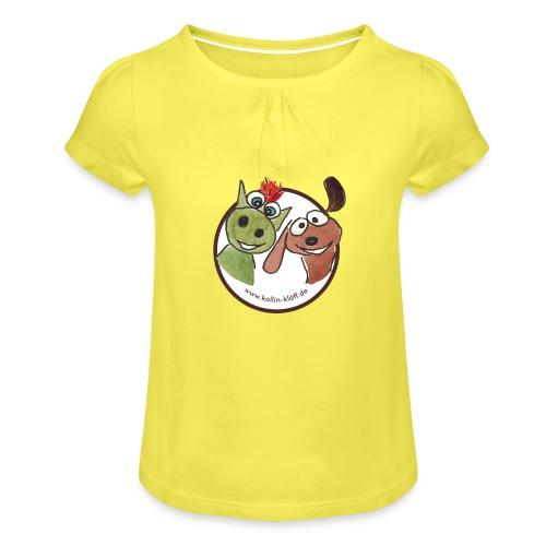 Kollin Kläff - Hund und Drache Blitz - Mädchen-T-Shirt mit Raffungen