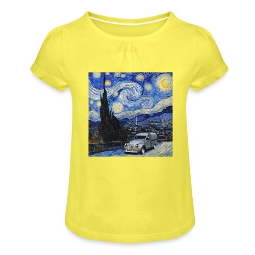Notte stellata Van Gogh Citroen 2cv furgonette - Maglietta da ragazza con arricciatura