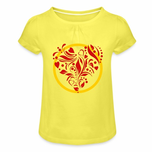 Herzemblem - Mädchen-T-Shirt mit Raffungen