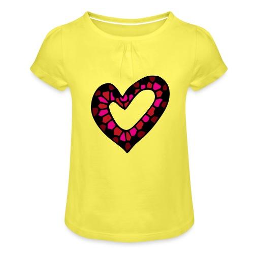 Herz Mosaik Buntglas - Mädchen-T-Shirt mit Raffungen