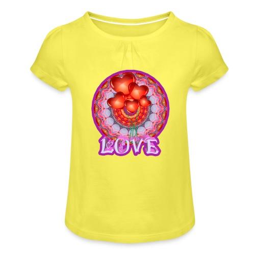 Love djf - Camiseta para niña con drapeado