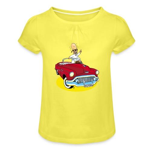 Herr Bohnemann im Buick - Mädchen-T-Shirt mit Raffungen