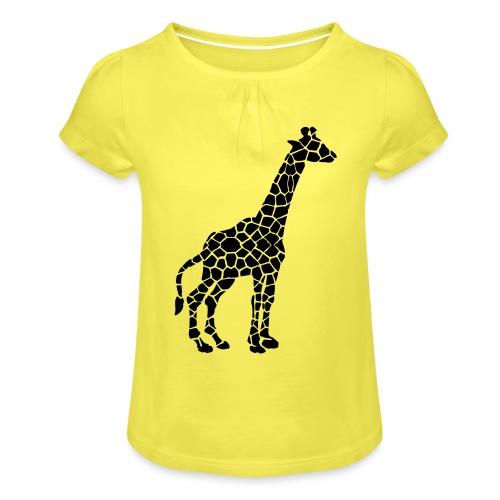 Giraffe (black) - Tyttöjen t-paita, jossa rypytyksiä