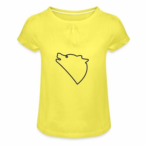 Wolf baul logo - Meisjes-T-shirt met plooien