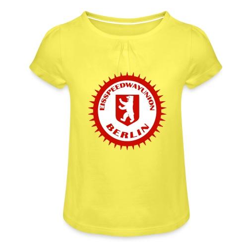 Logo in Rot Weiß - Mädchen-T-Shirt mit Raffungen