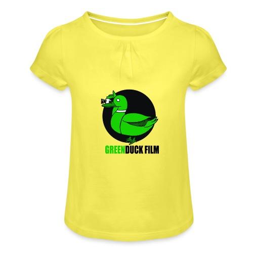 Greenduck Film Logo w. black letters - Pige T-shirt med flæser