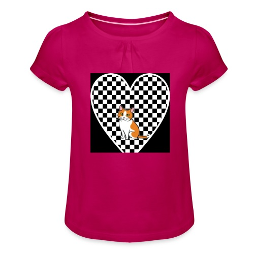 Charlie the Chess Cat - Girl's T-Shirt with Ruffles