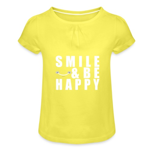 SMILE AND BE HAPPY - Girl's T-Shirt with Ruffles