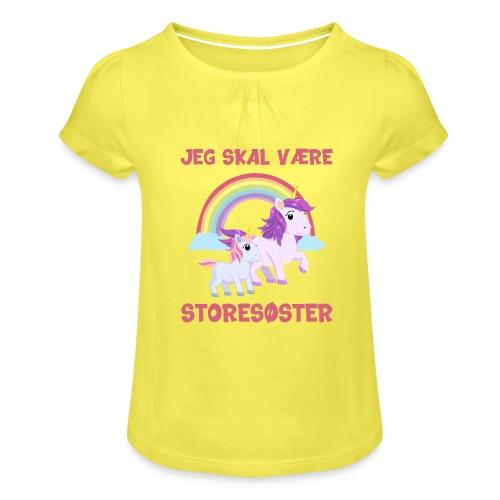 Jeg skal være storesøster enhjørning gave fødsel - Pige T-shirt med flæser