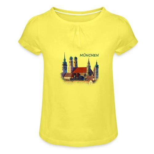 München Frauenkirche - Mädchen-T-Shirt mit Raffungen