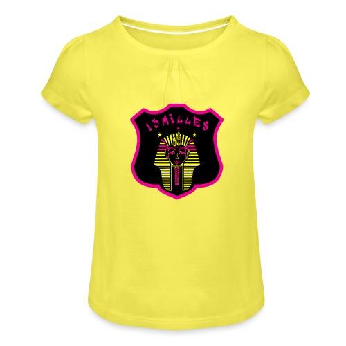 Pharaon Noir, Rose, Jaune hyper design - T-shirt à fronces au col Fille