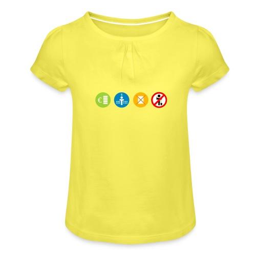 4kriteria ubi rechthoek trans - Meisjes-T-shirt met plooien
