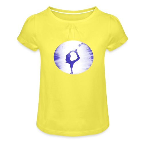 Blauer Skater - Mädchen-T-Shirt mit Raffungen