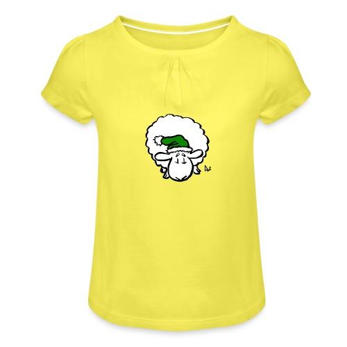 Santa Sheep (green) - Girl's T-Shirt with Ruffles