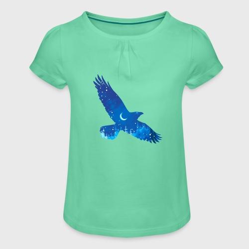 Oiseau Bleu d'hiver - T-shirt à fronces au col Fille